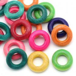 Lot 20 ou 50 Perles Rondelle en Bois Couleur Mixte MC0115001-2