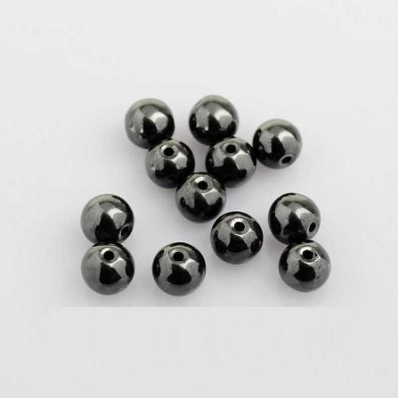 10 Perles Hematite Noir 8mm Non-Magnetique