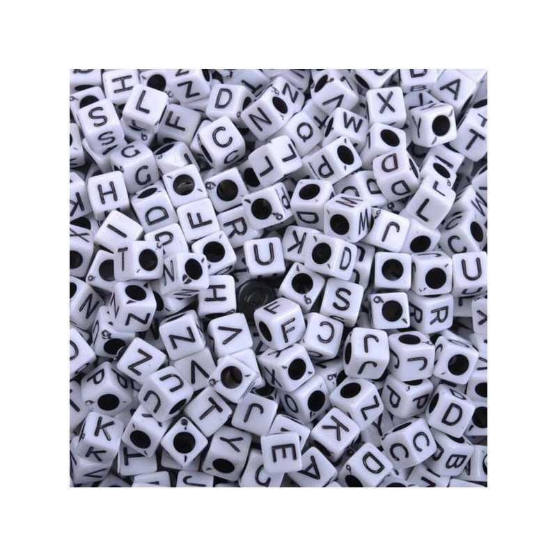Perle Alphabet Blanche Cube 6mm Lettre Aléatoire