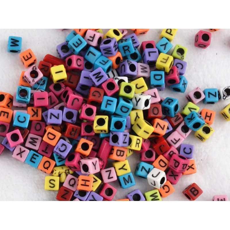 Perles Alphabet Couleur Mixte Cube 6mm Lettre Aléatoire