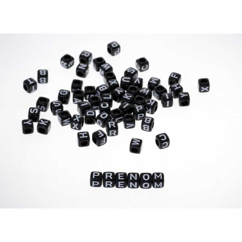 Perle Alphabet Noir Cube 6mm Lettre Aléatoire
