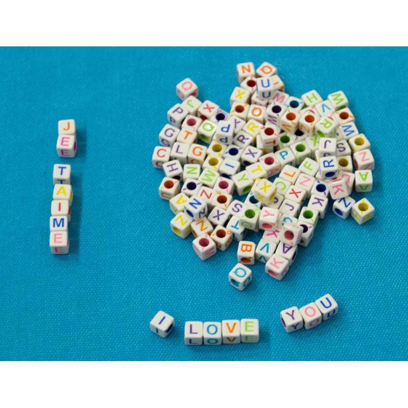 Perles Alphabet 6mm Blanche Ecriture Mixte Lettre Cube
