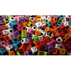 Perles Alphabet Mixte 7mm Lettre Cube MC0107106 - MC0107108