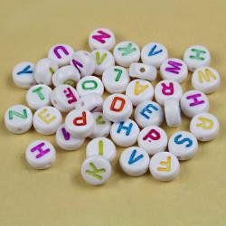 Lot Perles Alphabet 7mm x 4mm Blanche Acrylique Lettre Ecriture Mixte MC0107120 - MC0107122