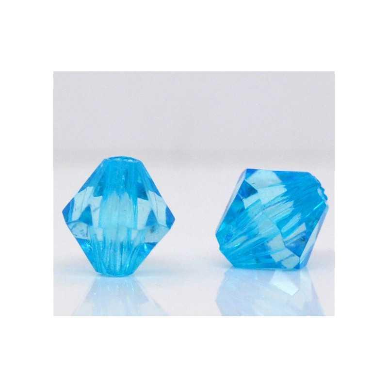 20 Perles en Acrylique Bleu 8mm Bicone Toupie