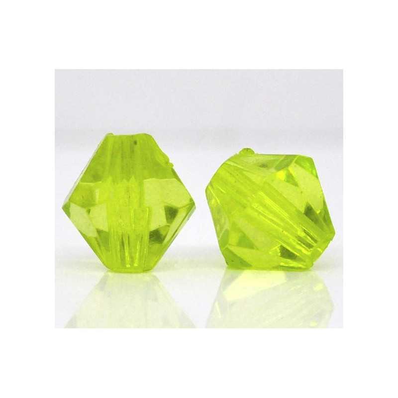 20 Perles en Acrylique Vert 8mm Bicone Toupie
