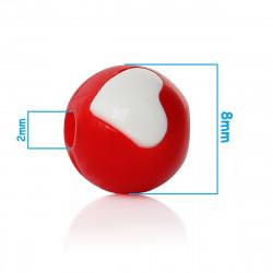 20 Perles Acrylique 8mm Ronde Rouge avec Coeur MC0108080