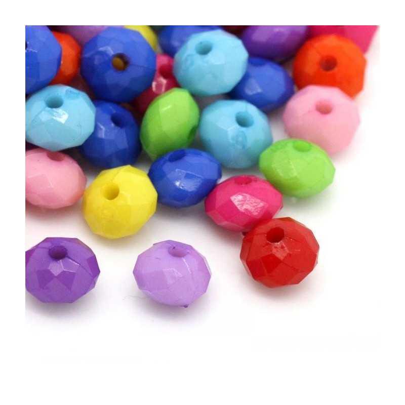 20 Perles 8mm x 5mm Rondelle Facette Mixte en Acrylique