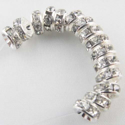 100 Perles Rondelle Strass Argenté 10mm MC0110076