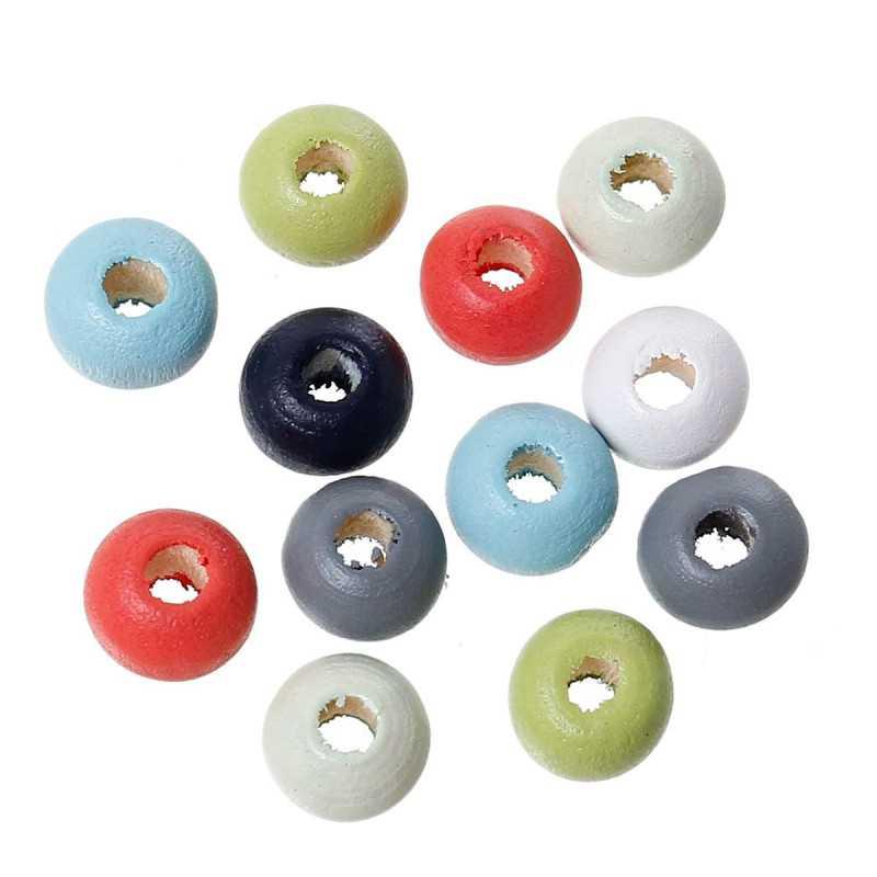 50 Perles en Bois 6mm Couleur Mixte