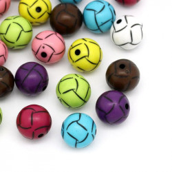 Lot de 10 Perles Ballon de football en acrylique mixte 14mm