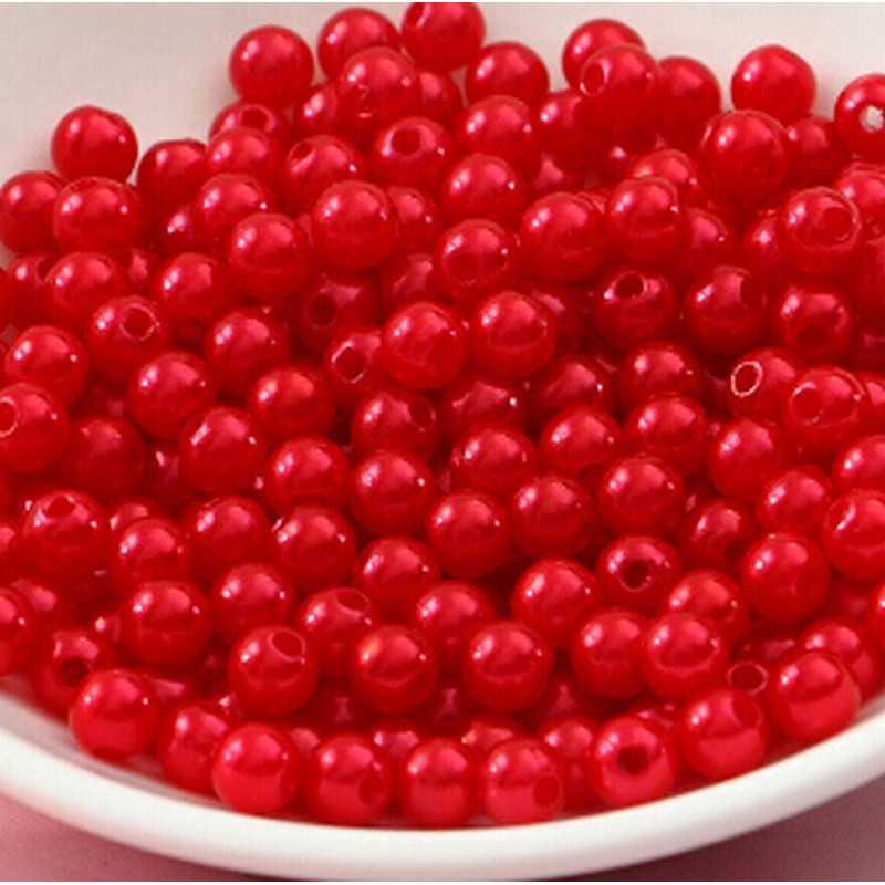 100 Perle imitation Brillant 3mm Couleur Rouge