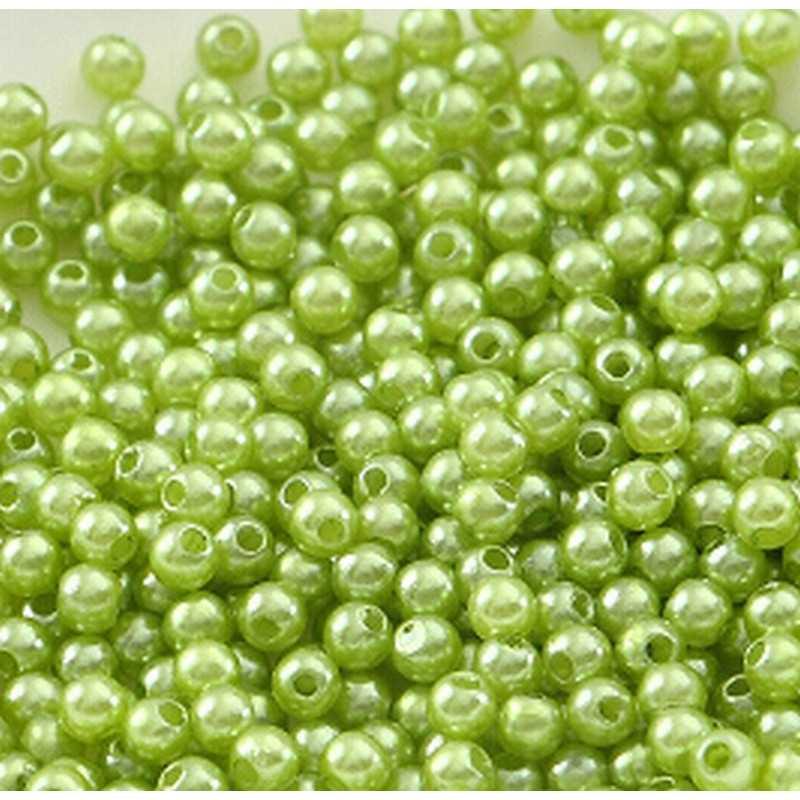 100 Perle imitation Brillant 3mm Couleur Vert Pomme