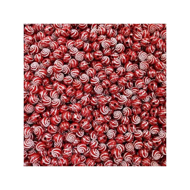 Lot 20 Perle 8mm Point argente spiral Couleur Bordeaux