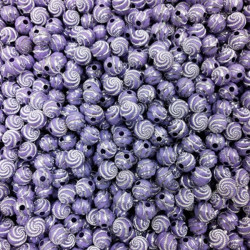 Lot 20 Perle 8mm Point argente spiral Couleur Violet Clair MC0108226