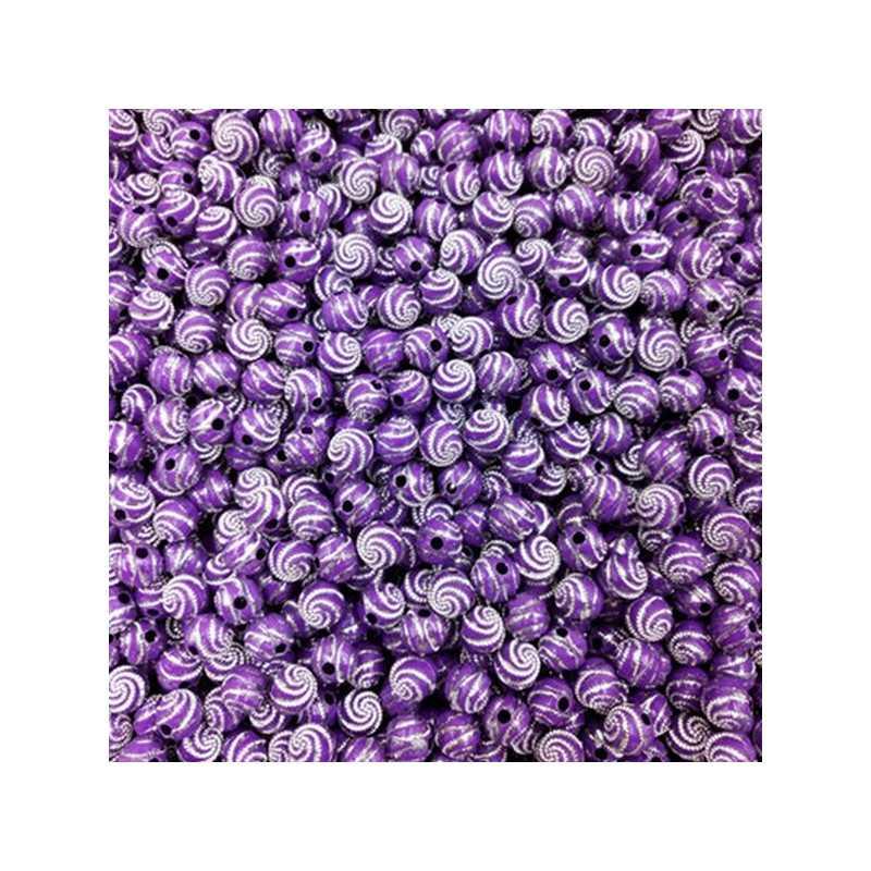 Lot 20 Perle 8mm Point argente spiral Couleur Violet