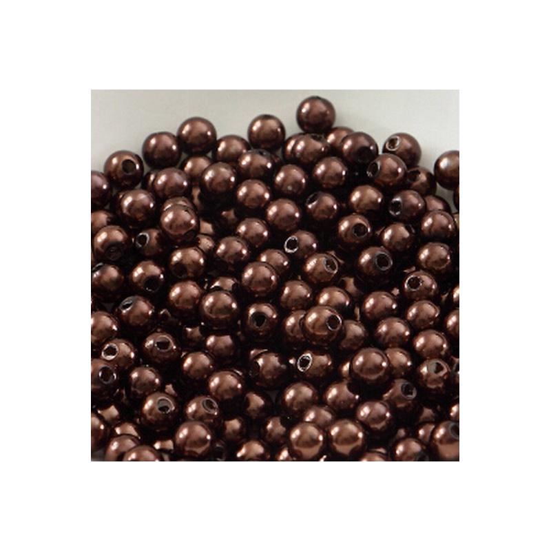 50 Perles 4mm Marron imitation Brillant