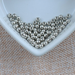 100 Perles Acrylique Brillante 4mm Couleur Argenté MC0104051