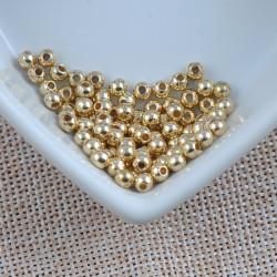 100 Perles Acrylique Brillante 4mm Couleur Doré MC0104052