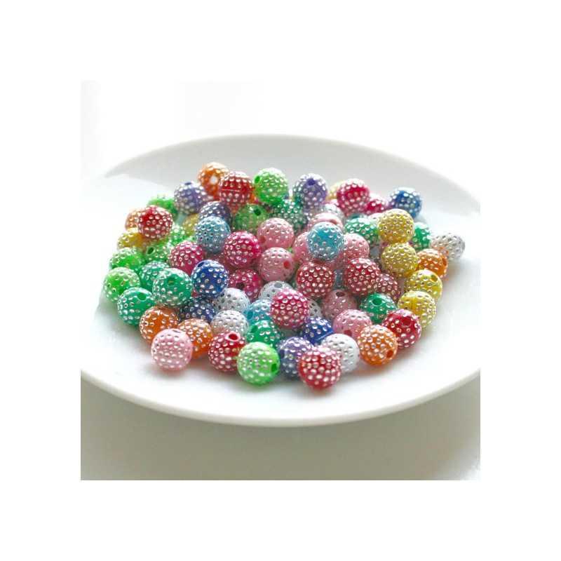 50 Perles 5mm Mix Multiple Point Argenté
