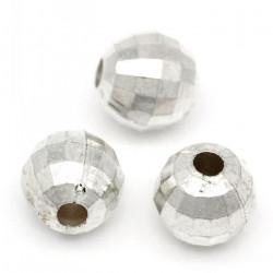 30 Perles Acrylique Rond Facette 6mm Argenté MC0106061