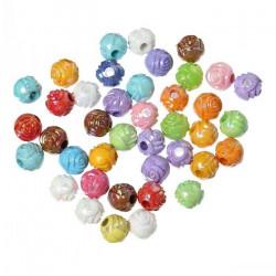 50 Perles Rond Fleur 6mm Couleur Mixte MC0106065