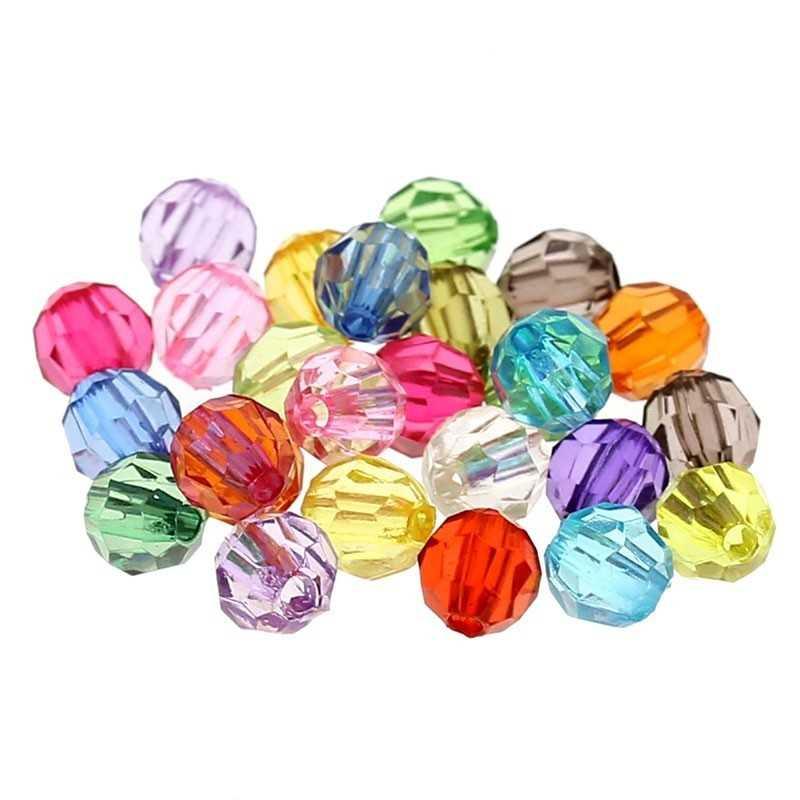 100 Perles en Acrylique Facette Ronde 6mm Cristal de Boheme