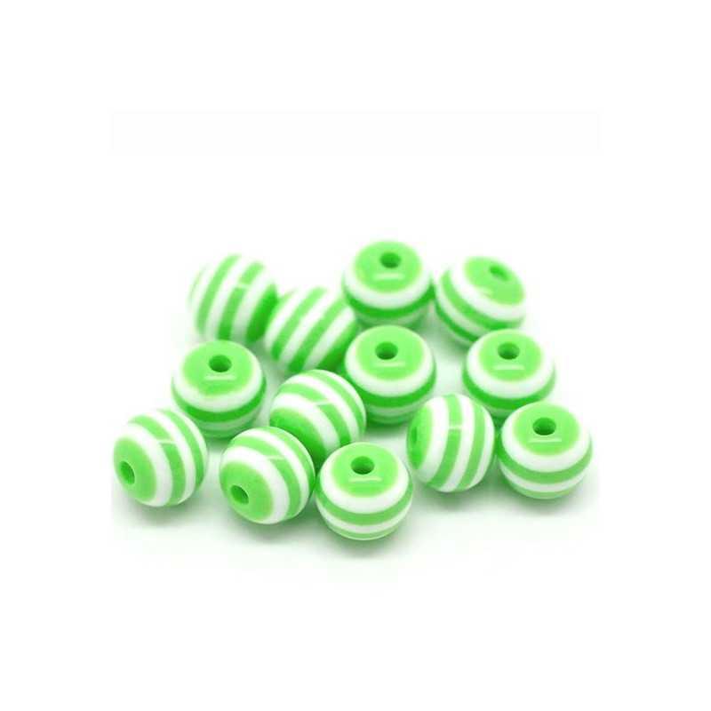 30 Perles en Acrylique Ronde Rayées 6mm Couleur Vert