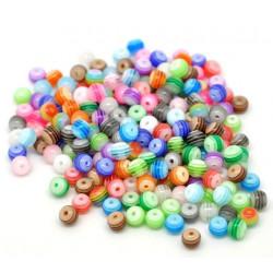 30 Perles en Acrylique Ronde Rayées Transparent 6mm Couleur Mixte MC0106083