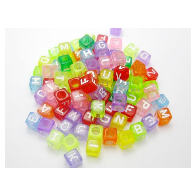 50 Perles Alphabet 6mm Transparent Multicouleur Cube 6mm