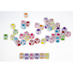100 Perles Alphabet 6mm Blanche Ecriture Mixte Lettre Cube MC0106110