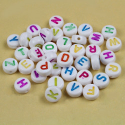 50 Perles Alphabet 7mm x 4mm Blanche Acrylique Lettre Ecriture Mixte MC0107120