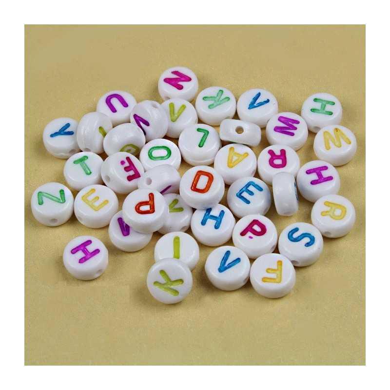 100 Perles Alphabet 7mm x 4mm Blanche Acrylique Lettre Ecriture Mixte