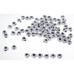 200 Perles Alphabet 7mm Coeur Blanche Acrylique Lettre MC0107131