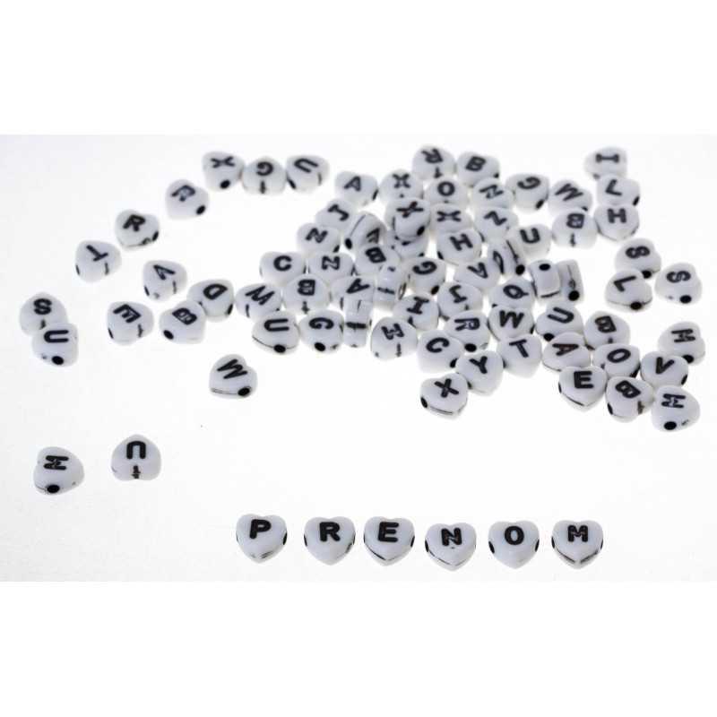200 Perles Alphabet Blanche Coeur 7mm Acrylique Lettre Aléatoire