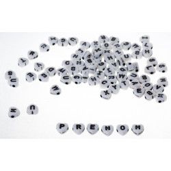50 Perles Alphabet 7mm Coeur Blanche Acrylique Lettre MC0107129
