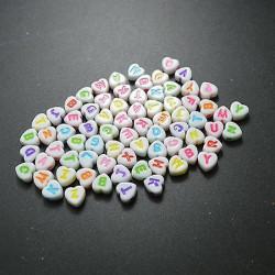 100 Perles Alphabet 7mm Coeur Blanche Acrylique Lettre Ecriture Mixte MC0107133