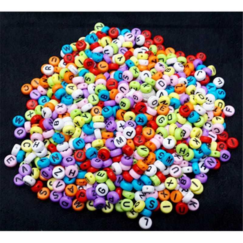 200 Perles Alphabet Multi-couleur Ecriture Noir Ronde 7mm x 4mm Acrylique Lettre Aléatoire