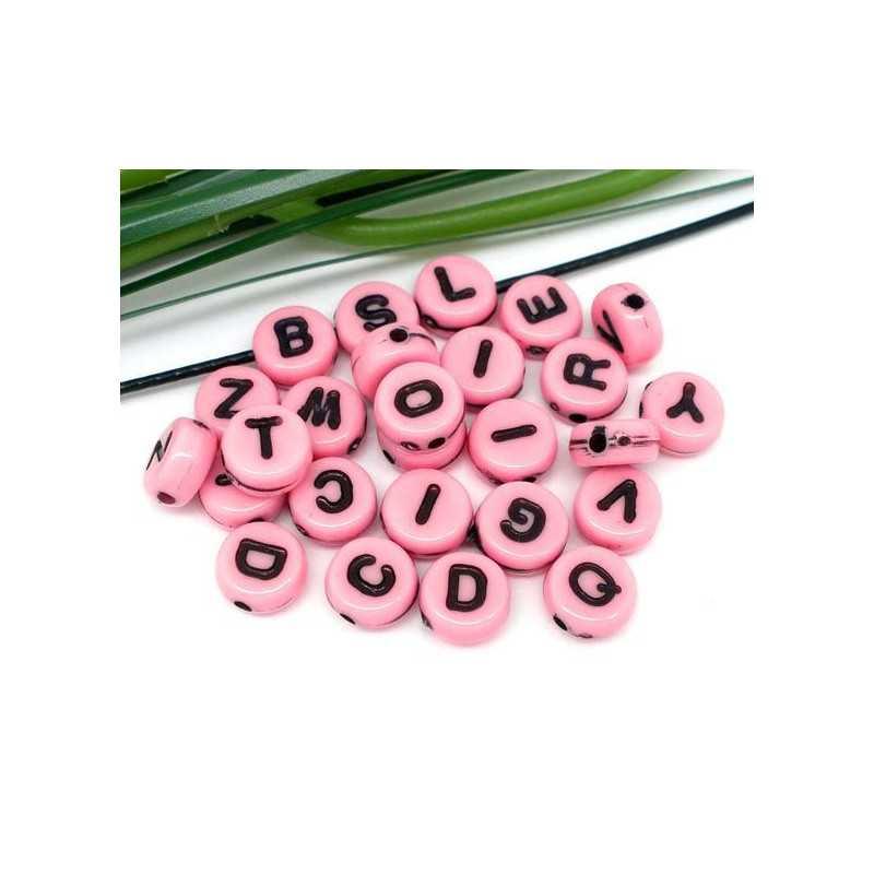 200 Perles Alphabet 7mm Rose Acrylique Lettre Ronde