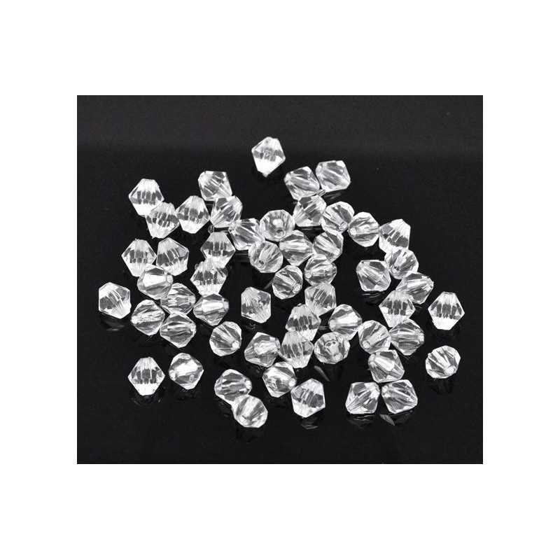 Lot de 100 ou 200 Perles Transparent Intercalaires Bicone toupie en Acrylique 4 x 4mm