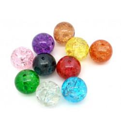 10 Perles en Verre Craquelé Fissuré 10mm MC0110077