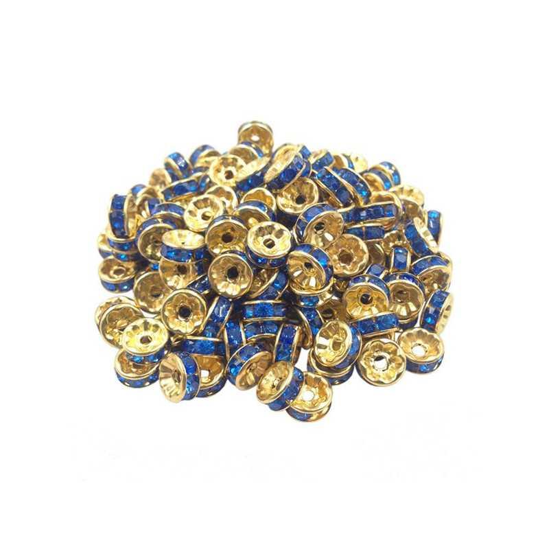 20 Perles Rondelle strass Doré 8mm Couleur Bleu
