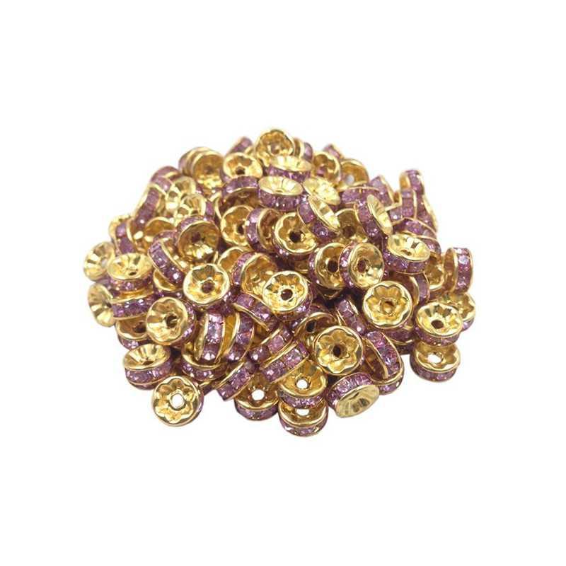 20 Perles Rondelle strass Doré 8mm Couleur Parme
