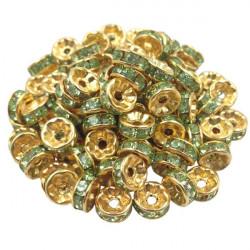 20 Perles Rondelle strass Doré 8mm Couleur Vert MC0108028