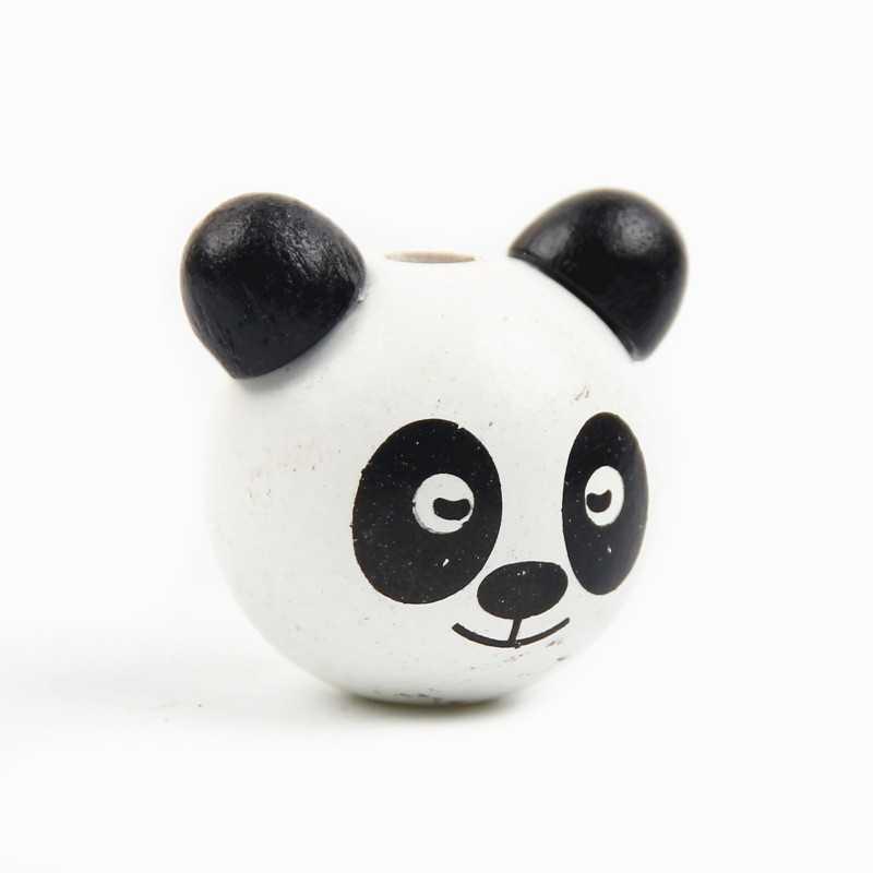 Perle en Bois 3D Tete Panda Blanc 25mm
