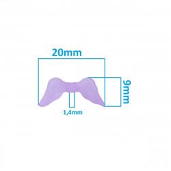 20 Perles en Acrylique 20mm Aile d'Ange Couleur Violet Givré MC0400040A