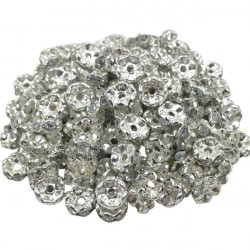 Lot 20 Perles Rondelle strass Argenté 7mm MC0107001