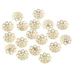 10 Coupelles / caps / Calottes Fleur 12mm Doré MC0800032