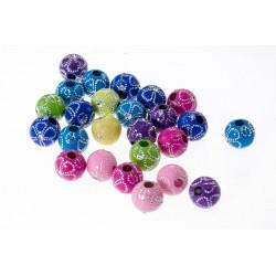 20 Perles en Acrylique Fleur 10mm Couleur Mixte MC0110029