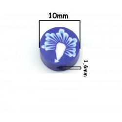 10 Perles en Pâte Polymère 10mm Bleu avec Fleur MC0110033